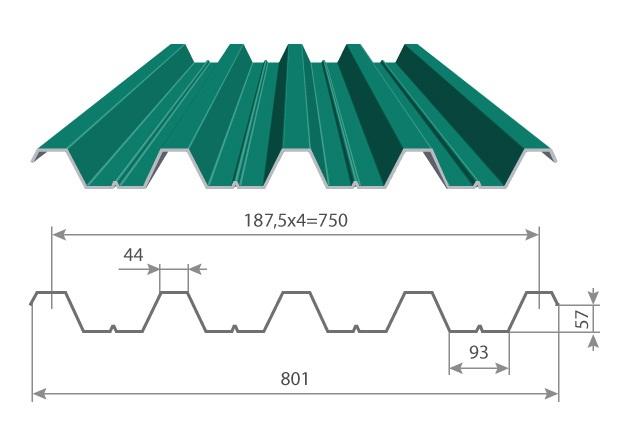 Профнастил Н57-750